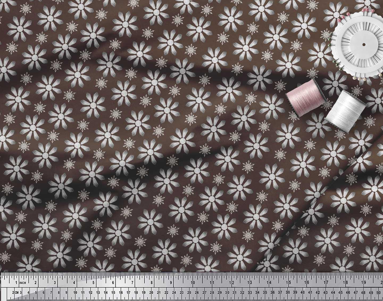 Soimoi-Brown-Cotton-Poplin-Fabric-Crystals-Floral-Fabric-Prints-tPV thumbnail 4