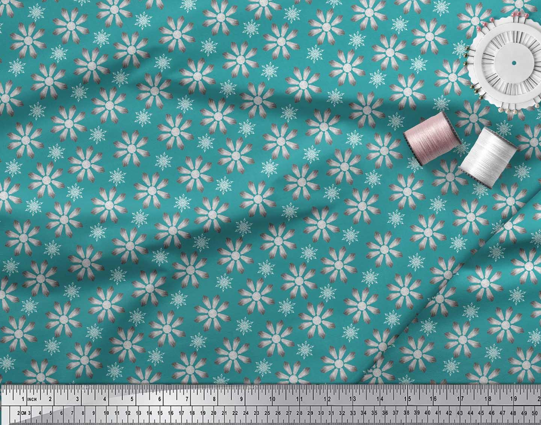Soimoi-Green-Cotton-Poplin-Fabric-Crystals-Floral-Print-Fabric-by-Fny thumbnail 3