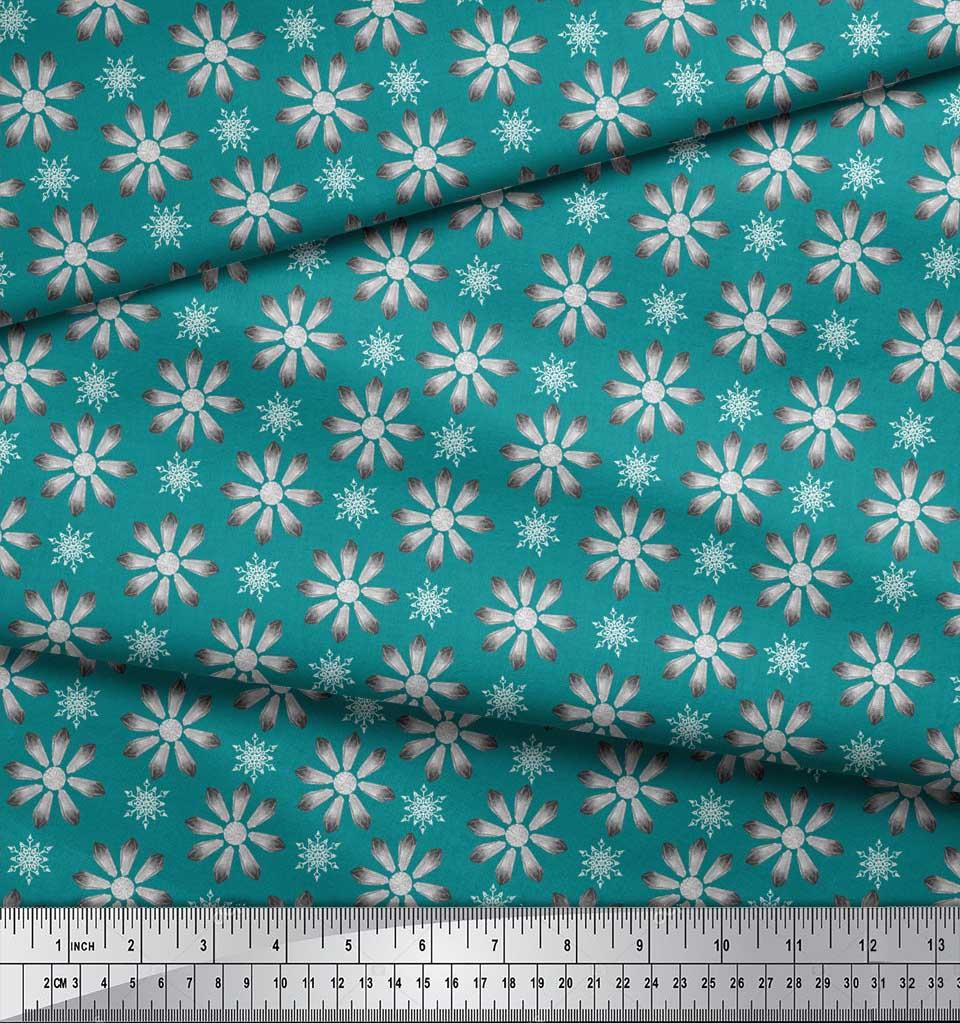 Soimoi-Green-Cotton-Poplin-Fabric-Crystals-Floral-Print-Fabric-by-Fny thumbnail 4