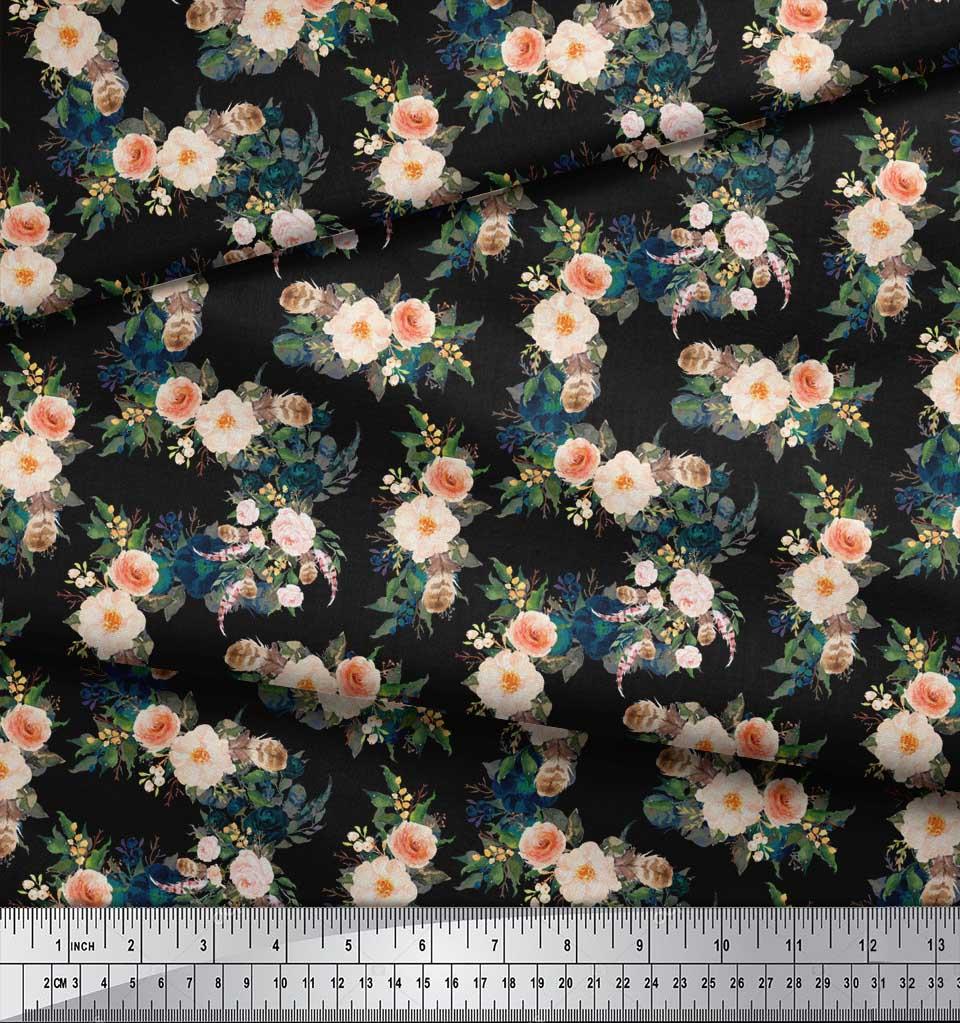 Soimoi-Black-Cotton-Poplin-Fabric-Leaves-amp-Peony-Floral-Printed-3fE thumbnail 3