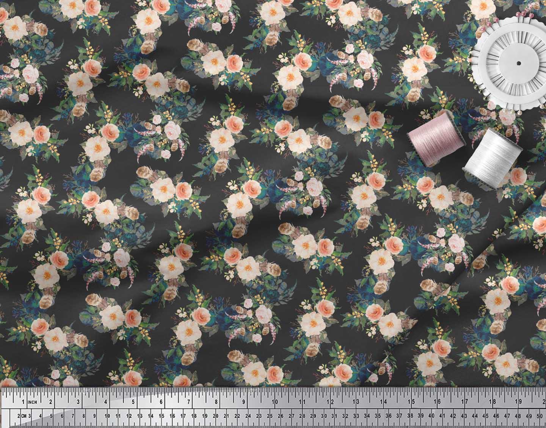 Soimoi-Black-Cotton-Poplin-Fabric-Leaves-amp-Peony-Floral-Printed-3fE thumbnail 4