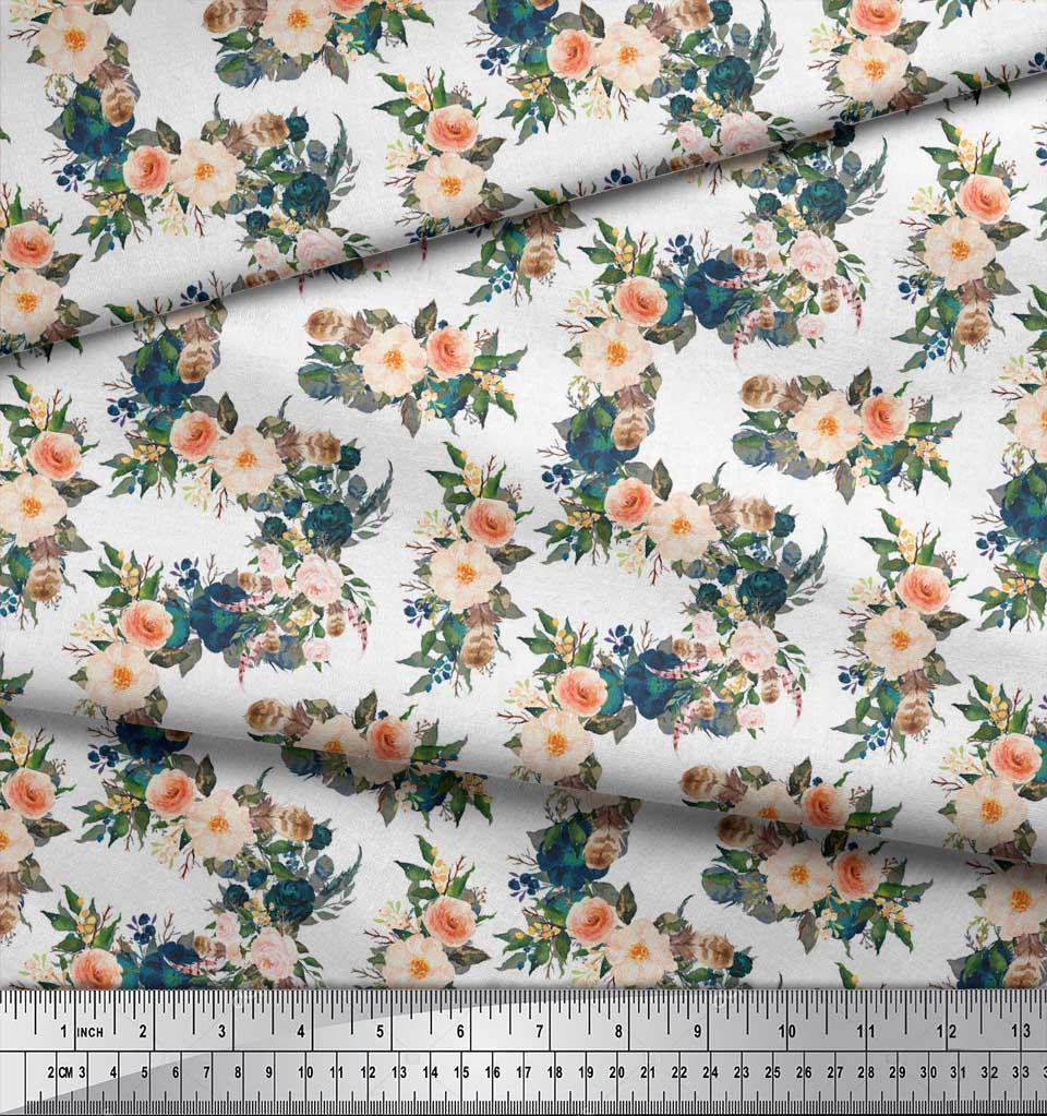 Soimoi-White-Cotton-Poplin-Fabric-Leaves-amp-Peony-Floral-Print-Sewing-jb7 thumbnail 3