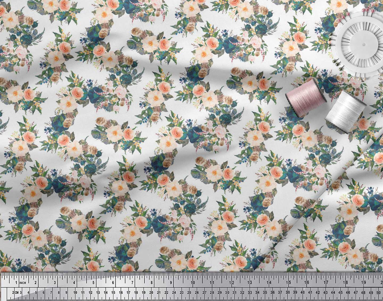 Soimoi-White-Cotton-Poplin-Fabric-Leaves-amp-Peony-Floral-Print-Sewing-jb7 thumbnail 4