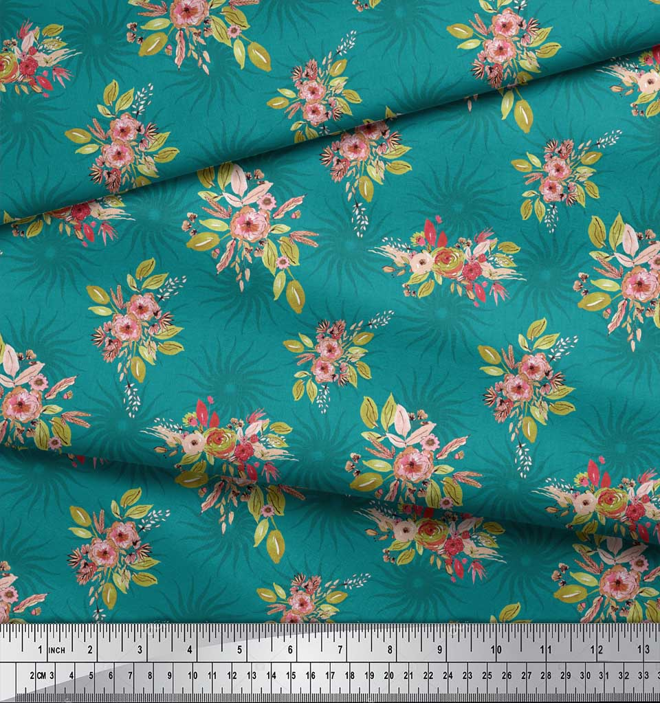 Soimoi-Green-Cotton-Poplin-Fabric-Leaves-amp-Flower-Floral-Fabric-Qcl thumbnail 3