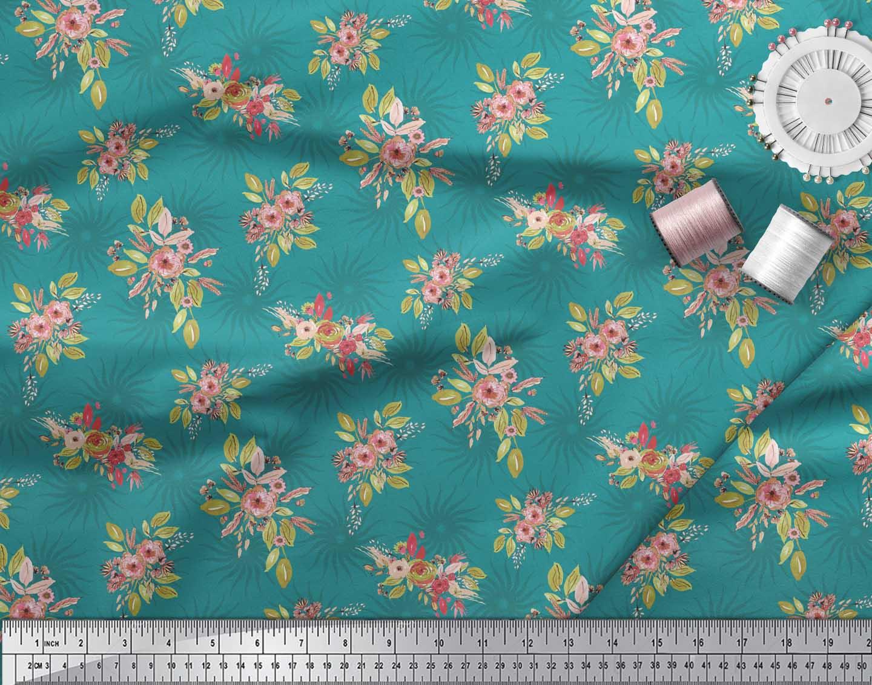 Soimoi-Green-Cotton-Poplin-Fabric-Leaves-amp-Flower-Floral-Fabric-Qcl thumbnail 4
