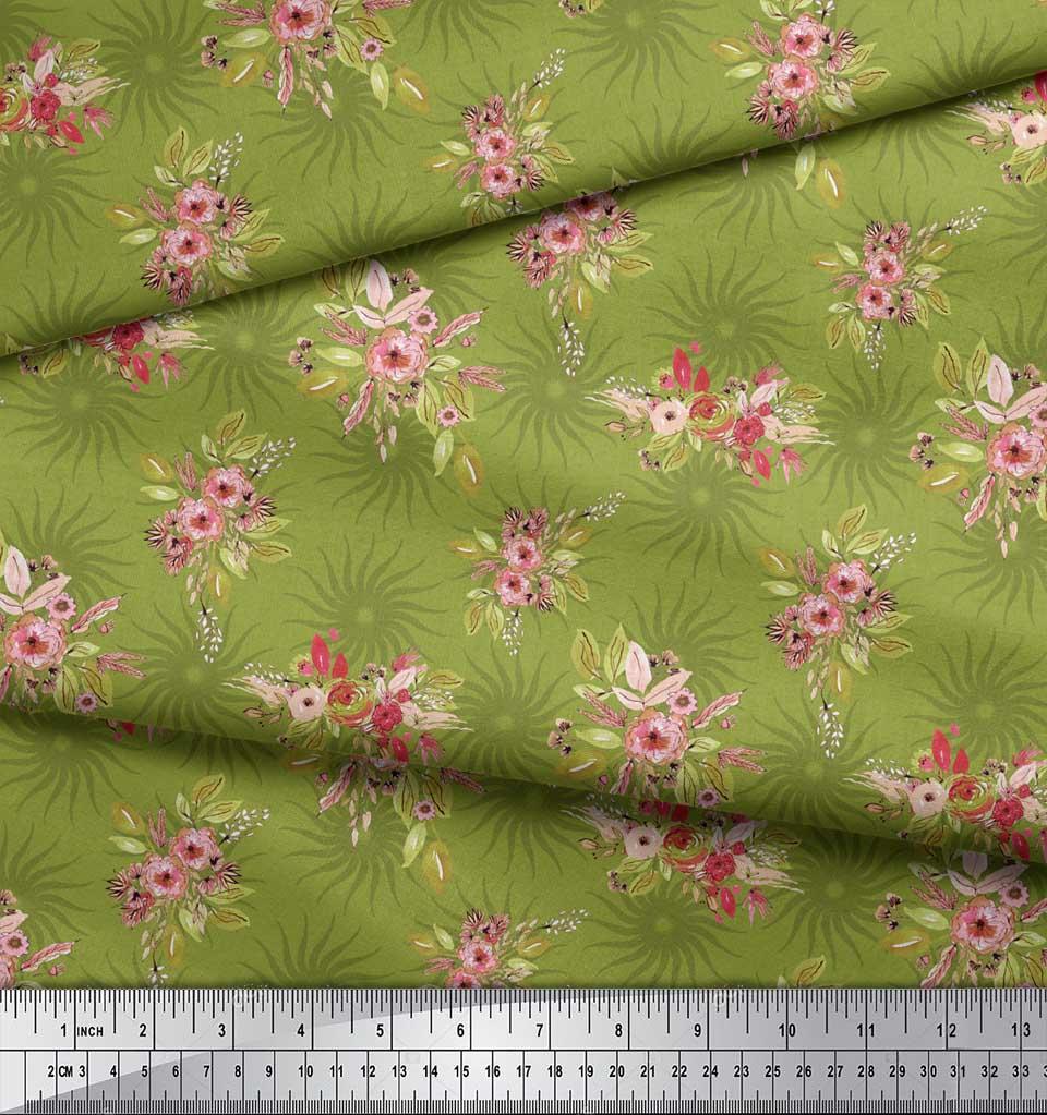 Soimoi-Green-Cotton-Poplin-Fabric-Leaves-amp-Flower-Floral-Print-Sewing-uJ4 thumbnail 3