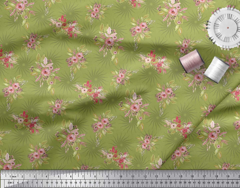 Soimoi-Green-Cotton-Poplin-Fabric-Leaves-amp-Flower-Floral-Print-Sewing-uJ4 thumbnail 4