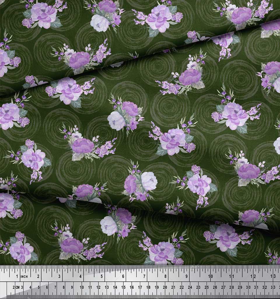 Soimoi-Green-Cotton-Poplin-Fabric-Circle-amp-Peony-Floral-Print-Fabric-drY thumbnail 3