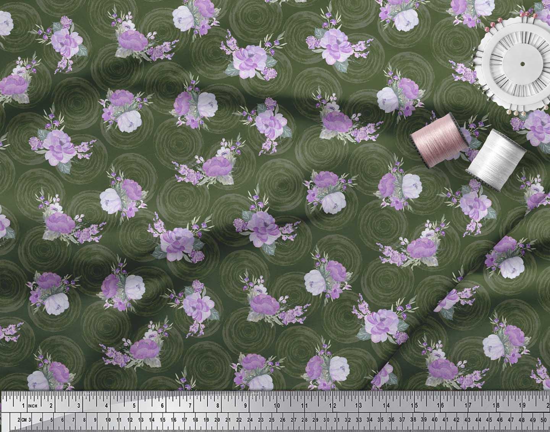 Soimoi-Green-Cotton-Poplin-Fabric-Circle-amp-Peony-Floral-Print-Fabric-drY thumbnail 4