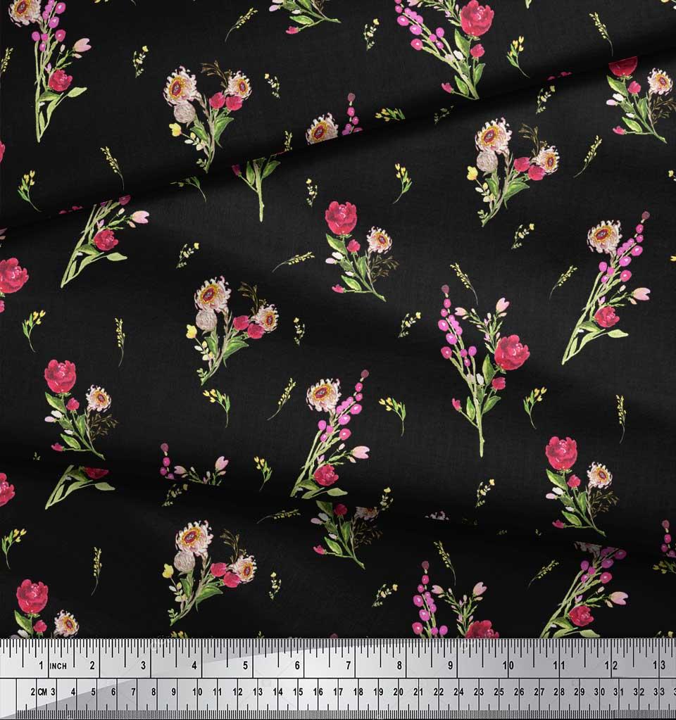 Soimoi-Black-Cotton-Poplin-Fabric-Clover-Leaves-Floral-Fabric-Prints-48E thumbnail 3