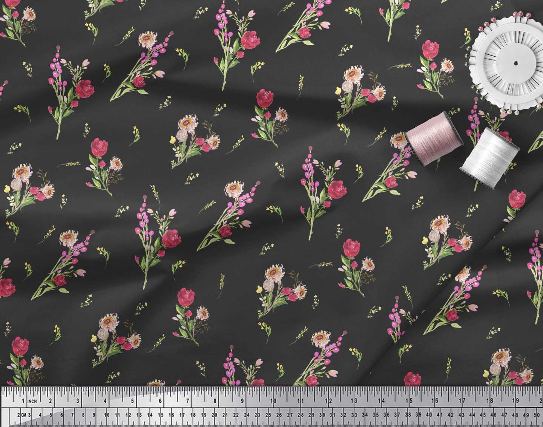 Soimoi-Black-Cotton-Poplin-Fabric-Clover-Leaves-Floral-Fabric-Prints-48E thumbnail 4