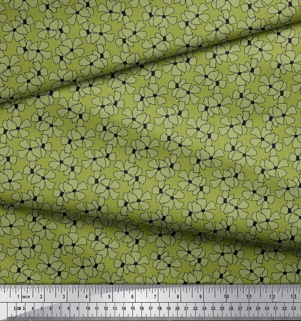 Soimoi-Green-Cotton-Poplin-Fabric-Periwinkle-Floral-Print-Fabric-rh8 thumbnail 3