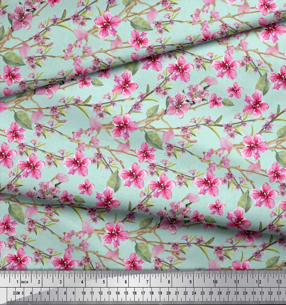 Soimoi-Green-Cotton-Poplin-Fabric-Leaves-amp-Blossoms-Floral-Print-ohL thumbnail 4