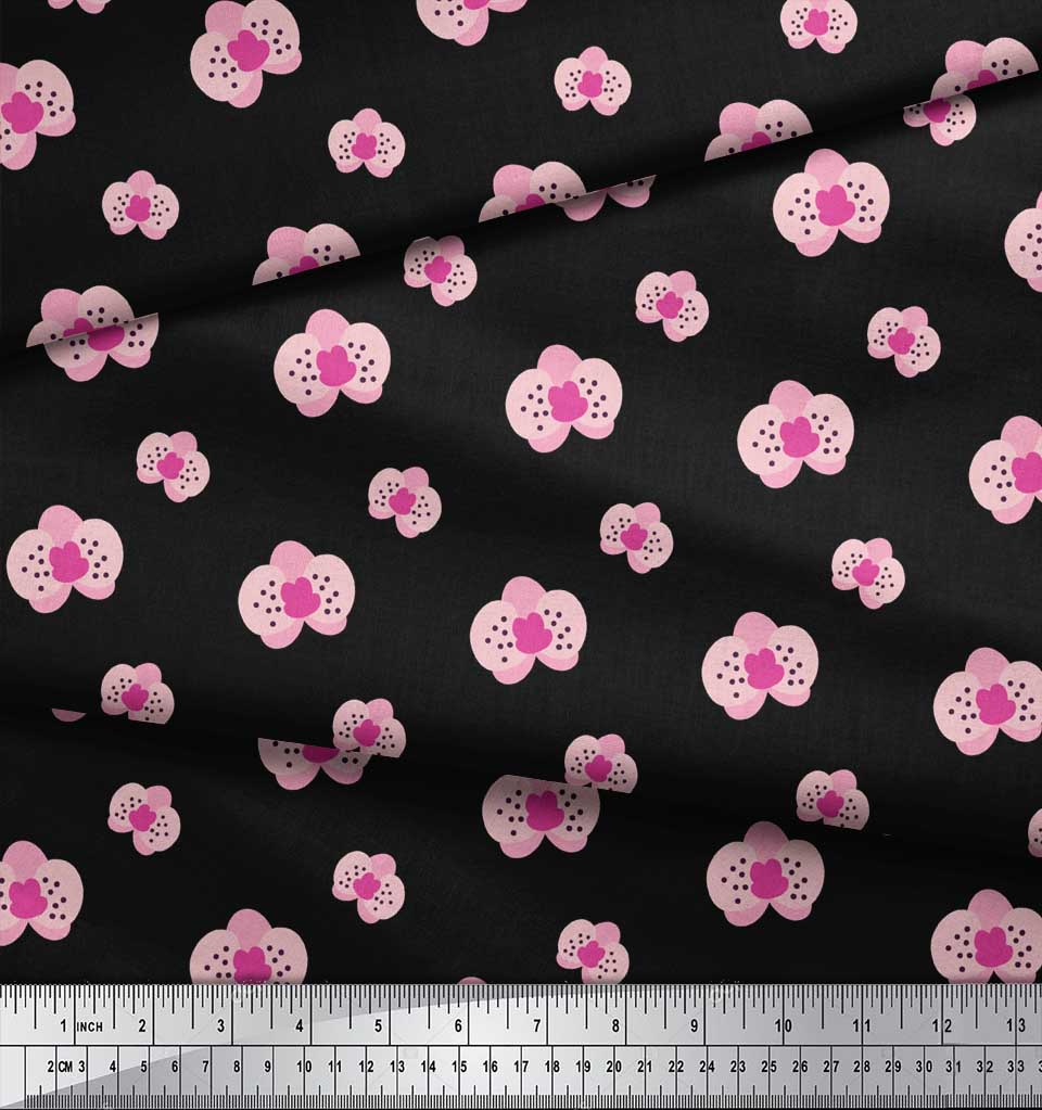 Soimoi-Black-Cotton-Poplin-Fabric-Artistic-Floral-Fabric-Prints-FPE thumbnail 3