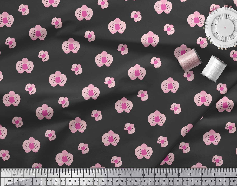 Soimoi-Black-Cotton-Poplin-Fabric-Artistic-Floral-Fabric-Prints-FPE thumbnail 4