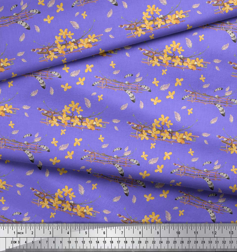 Soimoi-Purple-Cotton-Poplin-Fabric-Feather-amp-Floral-Decor-Fabric-H5x thumbnail 3