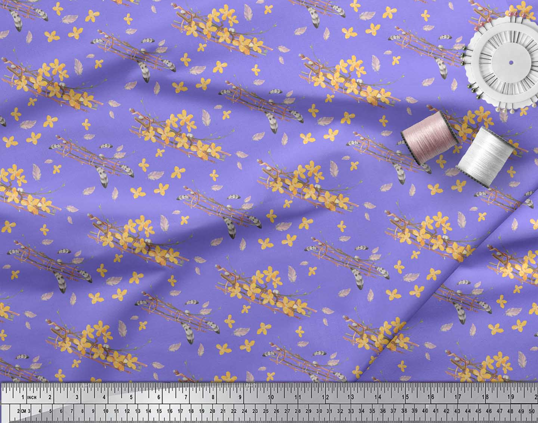 Soimoi-Purple-Cotton-Poplin-Fabric-Feather-amp-Floral-Decor-Fabric-H5x thumbnail 4