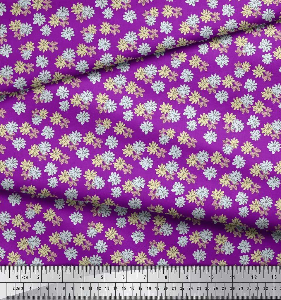 Soimoi-Purple-Cotton-Poplin-Fabric-Daisies-Floral-Fabric-Prints-ASN thumbnail 3