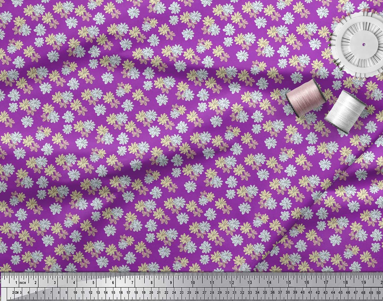 Soimoi-Purple-Cotton-Poplin-Fabric-Daisies-Floral-Fabric-Prints-ASN thumbnail 4