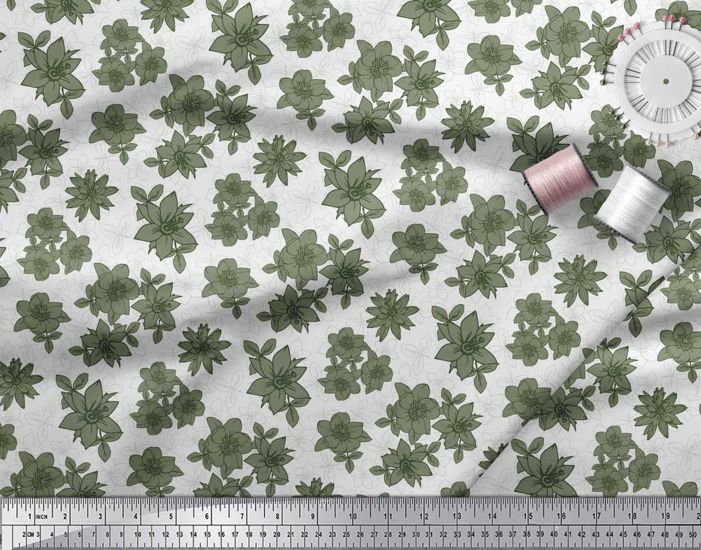 Soimoi-Green-Cotton-Poplin-Fabric-Leaves-amp-Daffodil-Floral-Print-if2 thumbnail 3