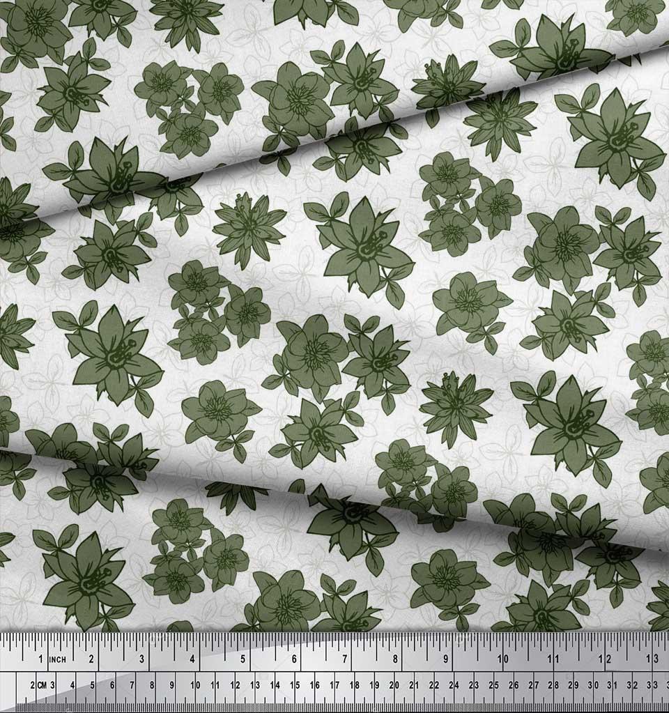 Soimoi-Green-Cotton-Poplin-Fabric-Leaves-amp-Daffodil-Floral-Print-if2 thumbnail 4