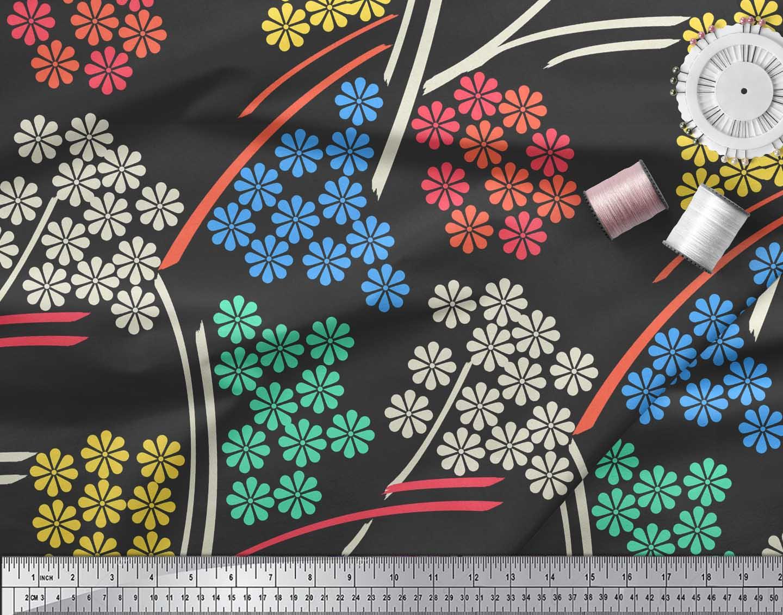 Soimoi-Black-Cotton-Poplin-Fabric-Artistic-Floral-Print-Fabric-by-uvV thumbnail 3