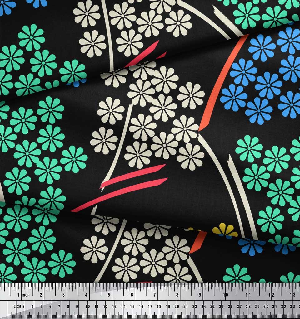 Soimoi-Black-Cotton-Poplin-Fabric-Artistic-Floral-Print-Fabric-by-uvV thumbnail 4