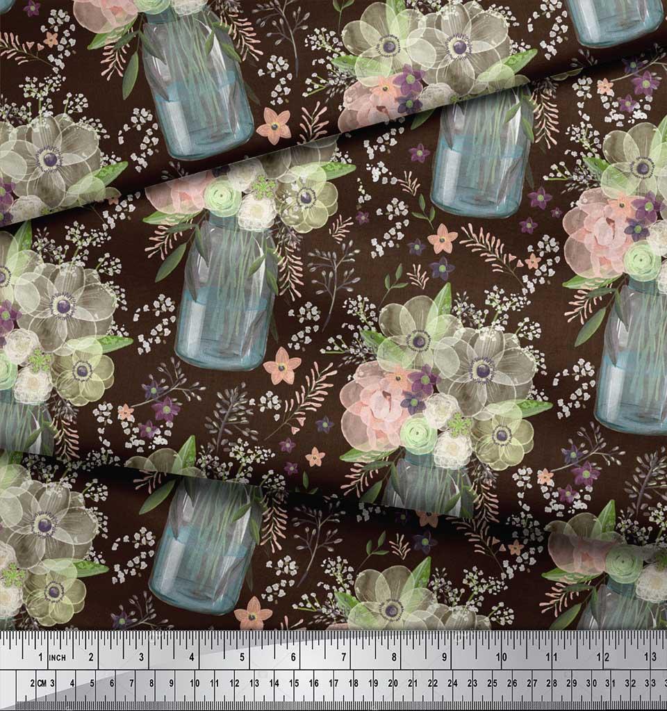 Soimoi-Brown-Cotton-Poplin-Fabric-Bottle-Vase-amp-Anemone-Floral-Print-DvZ thumbnail 3