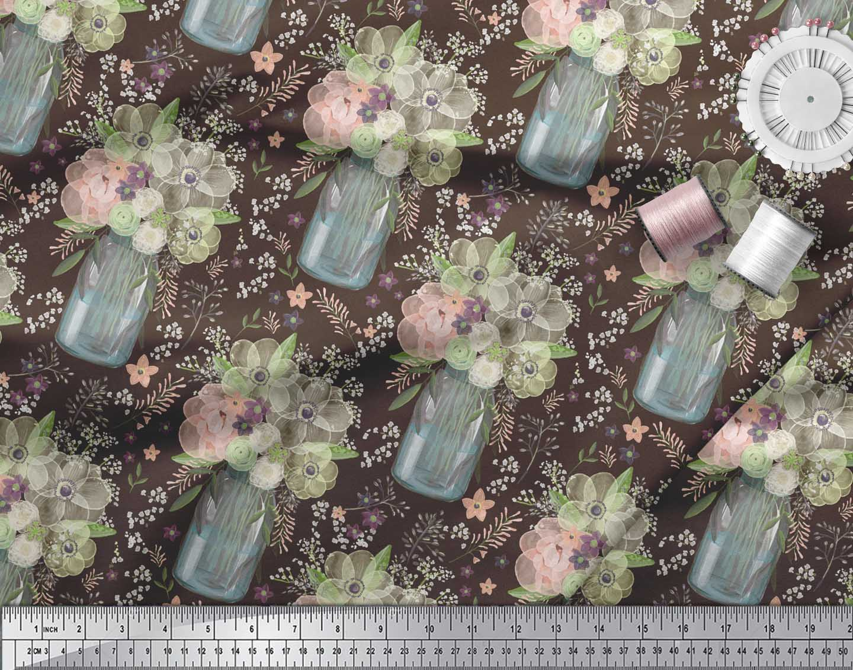 Soimoi-Brown-Cotton-Poplin-Fabric-Bottle-Vase-amp-Anemone-Floral-Print-DvZ thumbnail 4