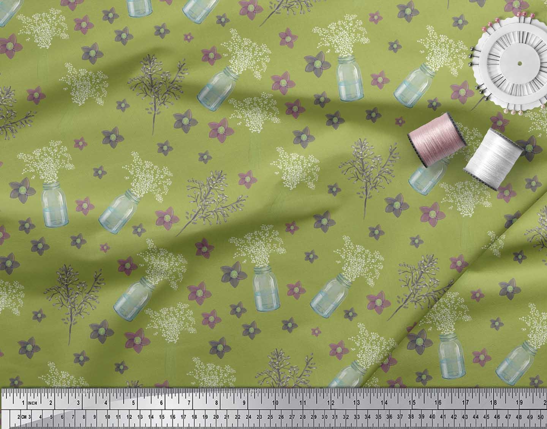 Soimoi-Green-Cotton-Poplin-Fabric-Bottle-vase-amp-clematis-Floral-rXT thumbnail 3