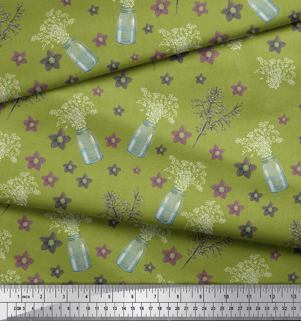 Soimoi-Green-Cotton-Poplin-Fabric-Bottle-vase-amp-clematis-Floral-rXT thumbnail 4
