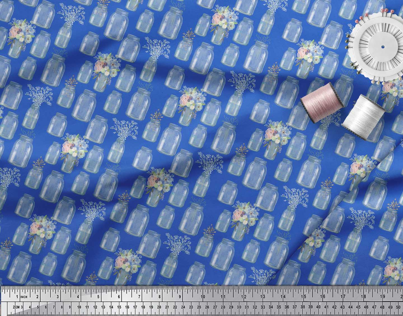 Soimoi-Blue-Cotton-Poplin-Fabric-Bottle-Vase-amp-Anemone-Floral-Fabric-moj thumbnail 3