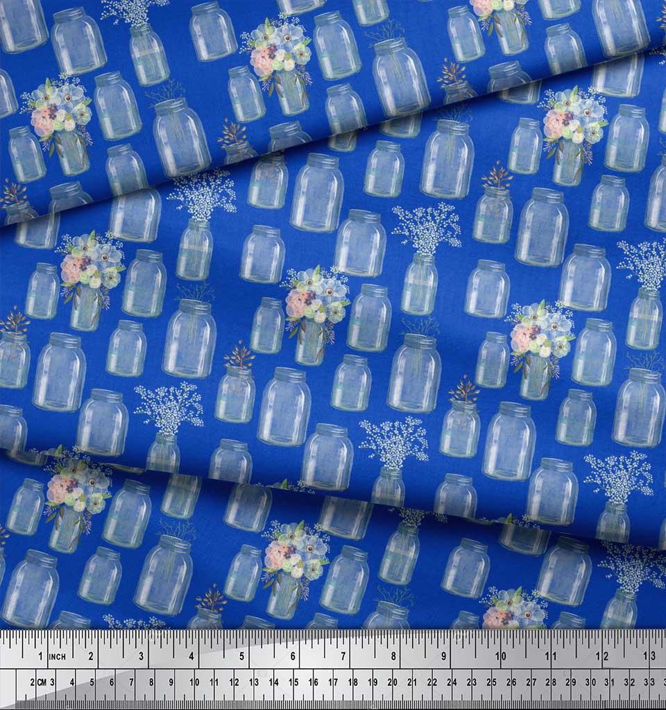 Soimoi-Blue-Cotton-Poplin-Fabric-Bottle-Vase-amp-Anemone-Floral-Fabric-moj thumbnail 4