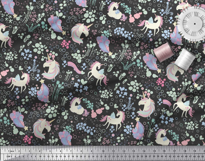 Soimoi-Black-Cotton-Poplin-Fabric-Unicorn-amp-Floral-Print-Fabric-jit thumbnail 4