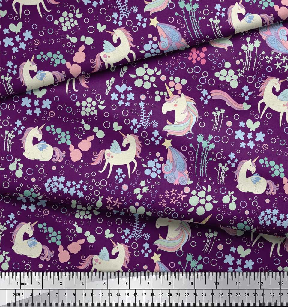 Soimoi-Purple-Cotton-Poplin-Fabric-Unicorn-amp-Floral-Print-Fabric-7oM thumbnail 3