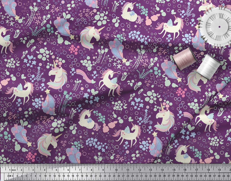 Soimoi-Purple-Cotton-Poplin-Fabric-Unicorn-amp-Floral-Print-Fabric-7oM thumbnail 4