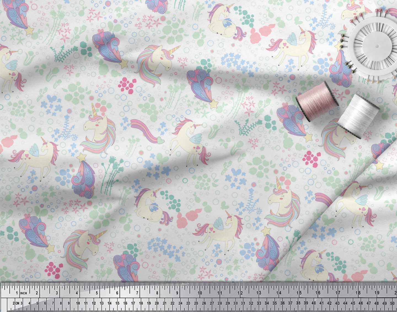 Soimoi-White-Cotton-Poplin-Fabric-Unicorn-amp-Floral-Print-Fabric-eDN thumbnail 3