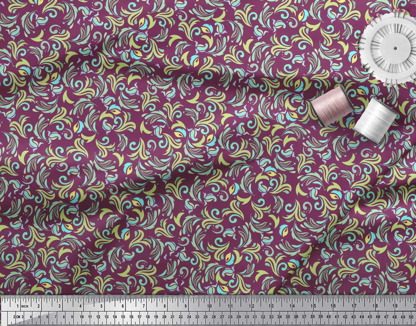 Soimoi-Pink-Cotton-Poplin-Fabric-Artistic-Floral-Printed-Craft-Fabric-hkn thumbnail 3