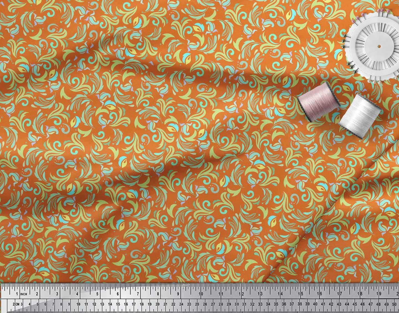 Soimoi-Orange-Cotton-Poplin-Fabric-Artistic-Floral-Printed-Fabric-zAB thumbnail 3