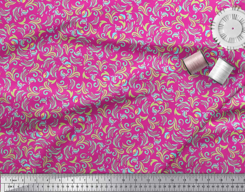 Soimoi-Pink-Cotton-Poplin-Fabric-Artistic-Floral-Printed-Craft-Fabric-n3B thumbnail 3