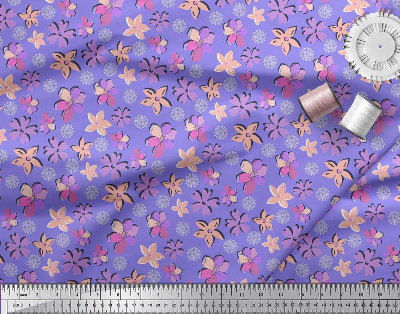 Soimoi-Purple-Cotton-Poplin-Fabric-Artistic-Floral-Print-Fabric-uIX thumbnail 4