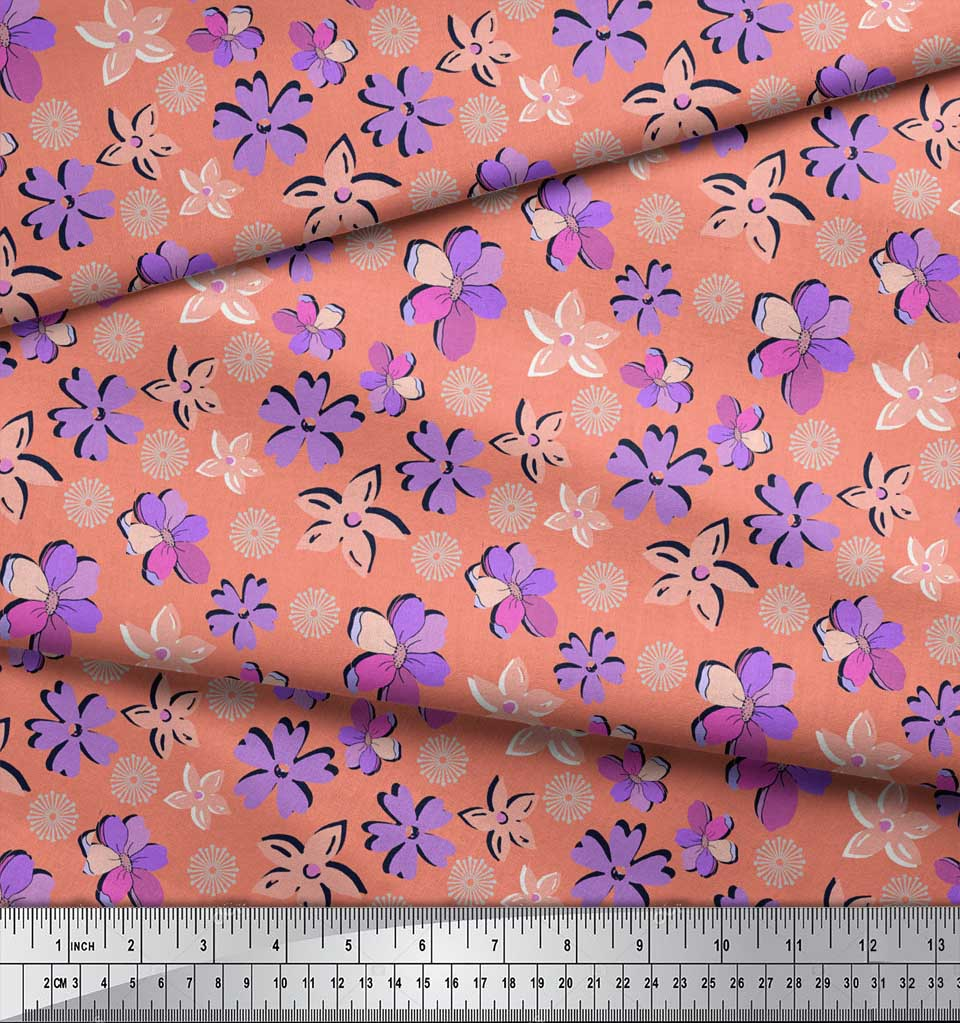 Soimoi-Orange-Cotton-Poplin-Fabric-Artistic-Floral-Printed-Fabric-9Zq thumbnail 3