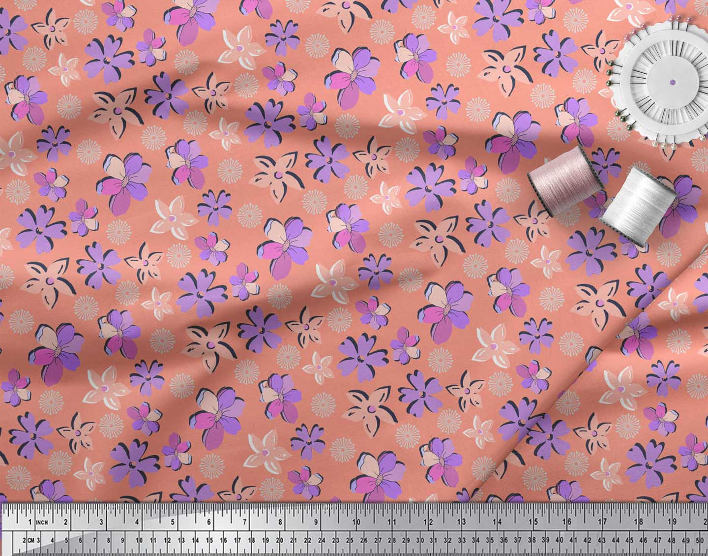 Soimoi-Orange-Cotton-Poplin-Fabric-Artistic-Floral-Printed-Fabric-9Zq thumbnail 4