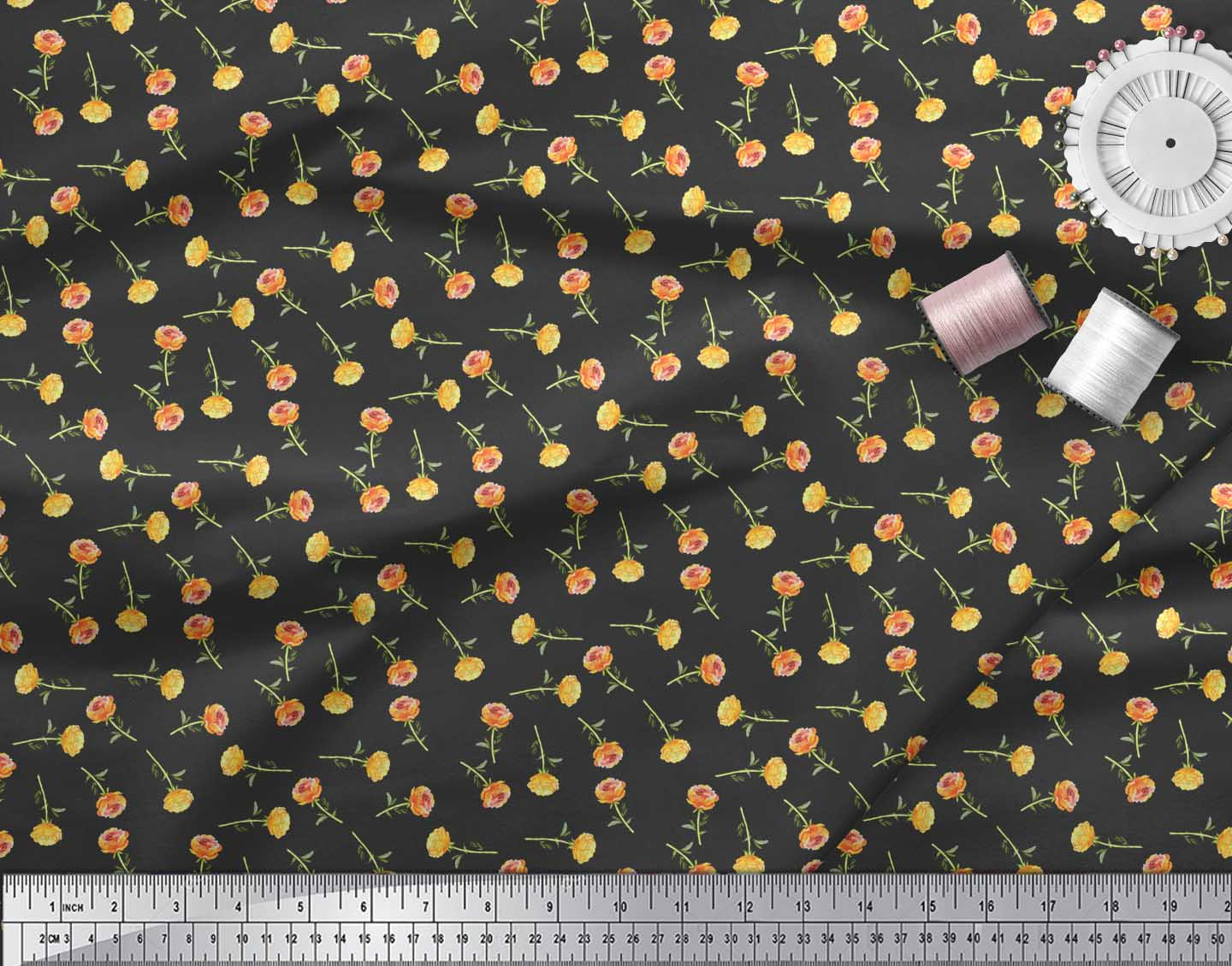 Soimoi-Black-Cotton-Poplin-Fabric-Rose-Floral-Print-Fabric-by-the-SIn thumbnail 4