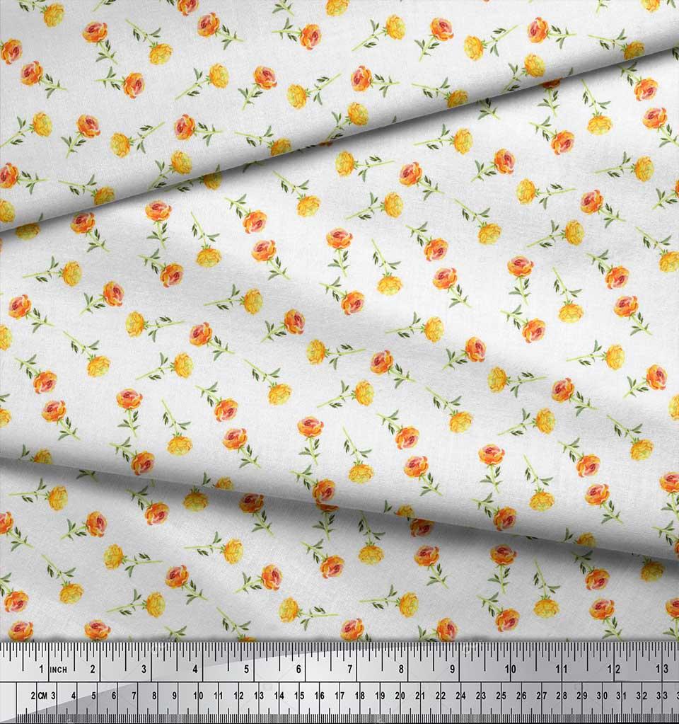 Soimoi-White-Cotton-Poplin-Fabric-Rose-Floral-Print-Fabric-by-the-RHv thumbnail 3