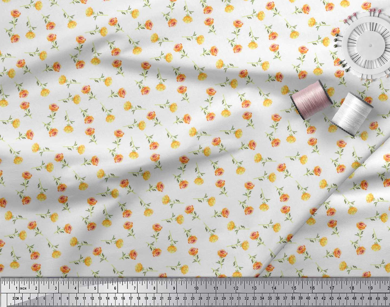 Soimoi-White-Cotton-Poplin-Fabric-Rose-Floral-Print-Fabric-by-the-RHv thumbnail 4