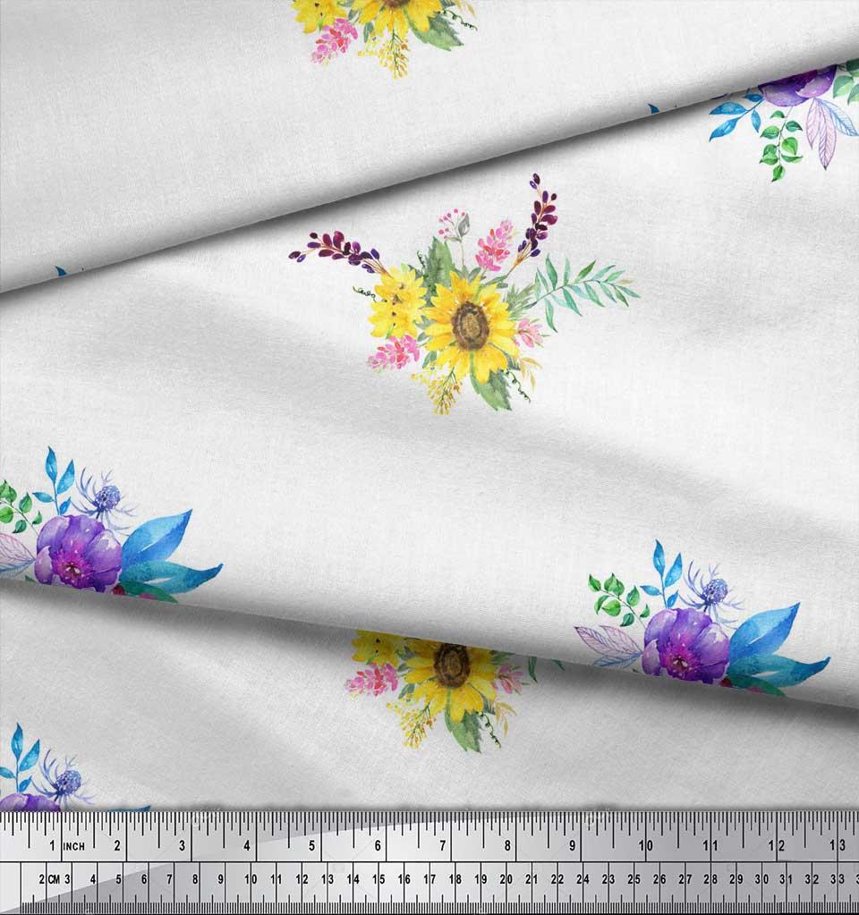 Soimoi-White-Cotton-Poplin-Fabric-Sunflower-amp-Peony-Floral-Decor-r4b thumbnail 3