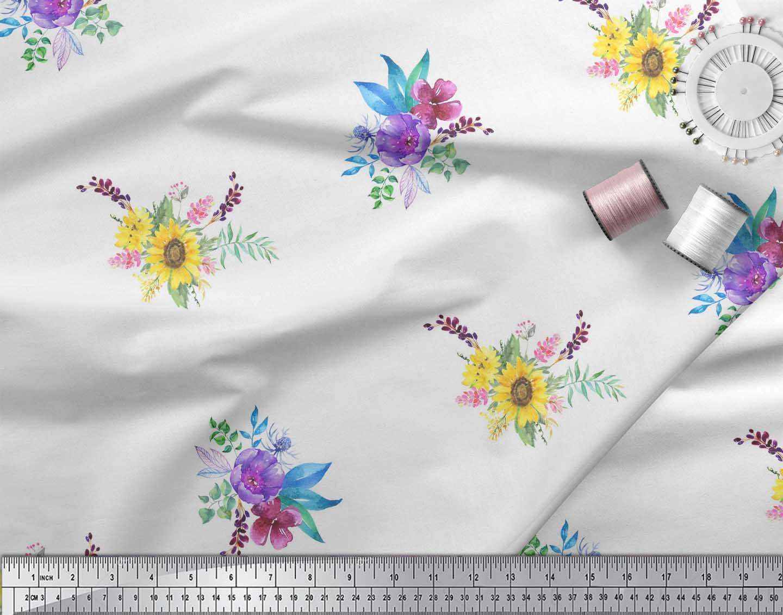 Soimoi-White-Cotton-Poplin-Fabric-Sunflower-amp-Peony-Floral-Decor-r4b thumbnail 4