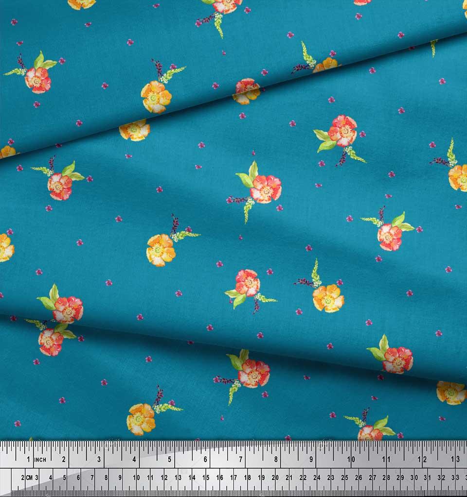 Soimoi-Blue-Cotton-Poplin-Fabric-Flower-Floral-Print-Fabric-by-the-LqX thumbnail 3
