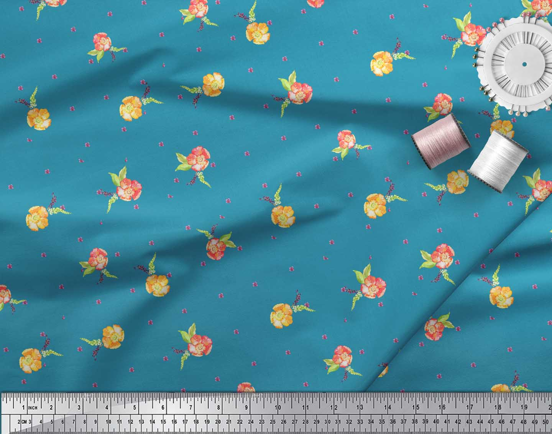 Soimoi-Blue-Cotton-Poplin-Fabric-Flower-Floral-Print-Fabric-by-the-LqX thumbnail 4